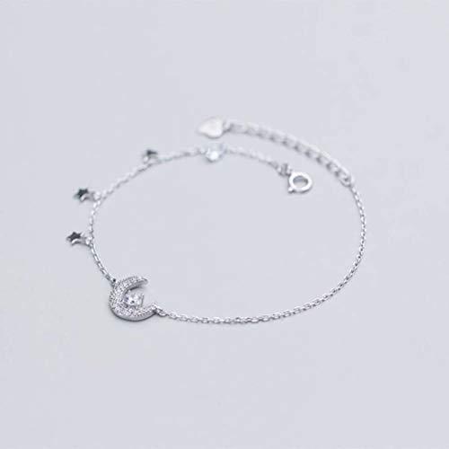 WOZUIMEI S925 Pulsera de Plata Femenina Estilo Coreano Moda Arte Estilo Diamante Luna Dulce Estrella JoyeríaPulsera