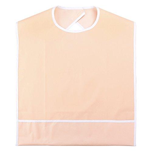 Heallily Erwachsenen Lätzchen Latz Wasserdicht -Schürze mit Schnappverschluss und Krümelfänger für Senioren Ältere Behinderte Patienten Kleidungsschutz (Orange rosa)