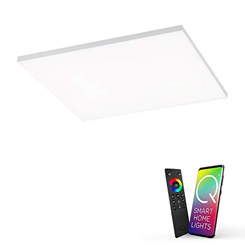 Q-Frameless, rahmenloses LED Panel, 45x45 | Smart-Home Decken-Lampe mit RGB-Farbwechsel | dimmbare Deckenleuchte, Alexa kompatibel | warmweiss - kaltweiss Temperatursteuerung …