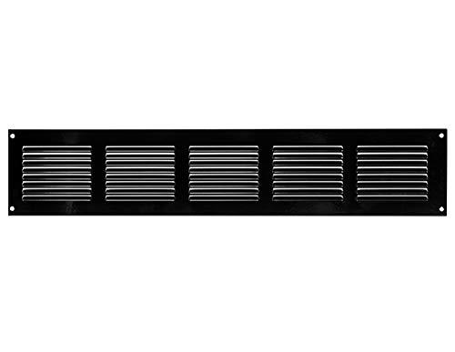 500x100mm Schwarz Lüftungsgitter mit Insektenschutz Abluftgitter Wetterschutzgitter Abluft Zuluft Metall Gitter
