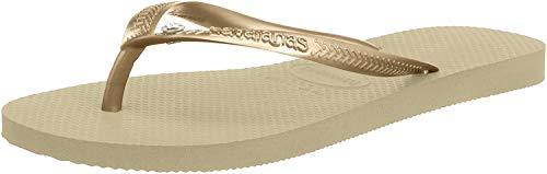 Havaianas Slim Crystal Glamour SW, Sandalias flip-flop para Mujer, Beige (Sand Grey/Light Golden), 33/34 EU