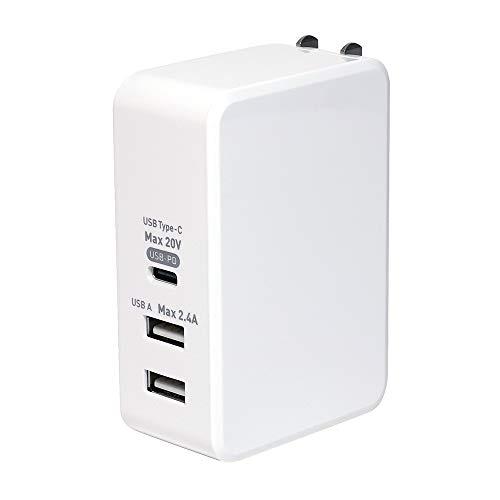 ミヨシ AC - USB充電器 ノートPC・タブレット対応 61W [3ポート:USB-C+USB-Ax2 /USB Power Delivery対応] ホワイト IPA-C05/WH