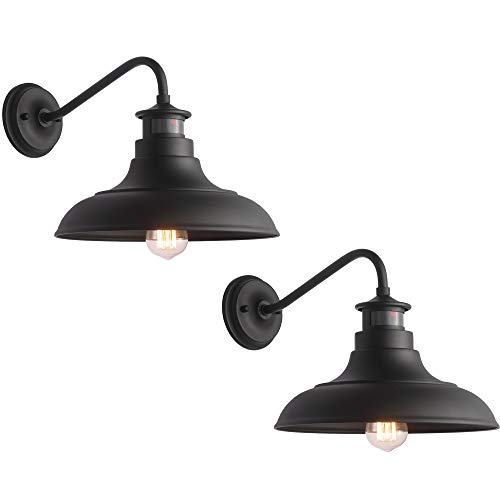 Untrammelife Gooseneck Wall Sconce Barn Lights, Set of 2 Matte Black Farmhouse Outdoor Wall Lights Dusk to Dawn Motion Sensor for House Deck Porch Patio, 10.5''x12.25''