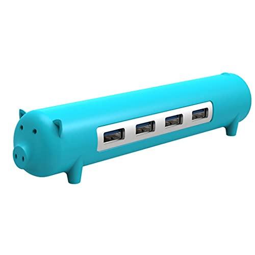 Aiglen Ordenador 4 en 1 Hubo de Forma de Mascota Lindo para Mac Notebook Aleación de Aluminio Silicona 100 cm Datos Separados Cable (Color : Blue)