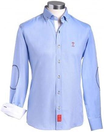Camisa manga larga hombre SEMIENTALLADA azul con coderas e ...