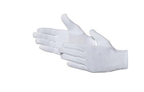 Katoenen handschoen 12 paar Oekotex-standaard versterkt wit 10 wit