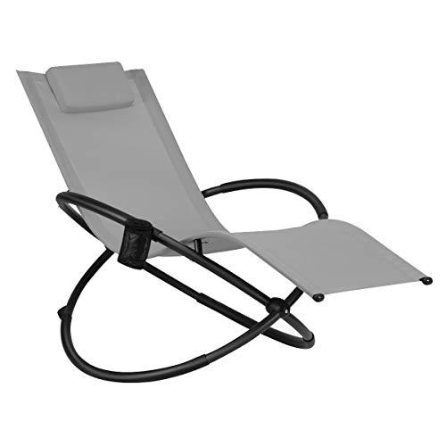 COSTWAY Schaukelliege Liegestuhl Outdoor, klappbare Relaxliege mit Abnehmbarer Kopfstütze und Getränkehalter, tragbare Gartenliege für Camping (Grau)