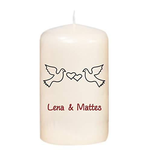 martoli Kerze mit Tauben und Wunschtext - Hochzeitskerze Farbe Creme, Größe 100 x 58 mm