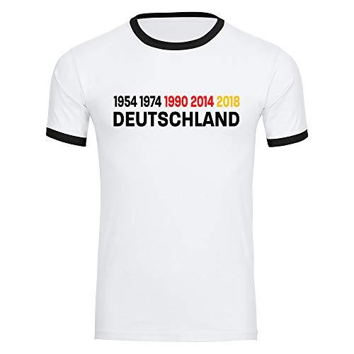 Maglietta Germania con i numeri 1954 1974 1990 2014 2018 da uomo bianco taglie S-2XL – Fanshop, maglietta per tifosi, maglia da calcio EM Germania taglia XL