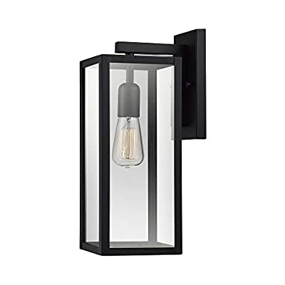Globe Electric 44176 Bowery 1-Light Outdoor Indoor Wall Sconce, Matte Black, Clear Glass Shade