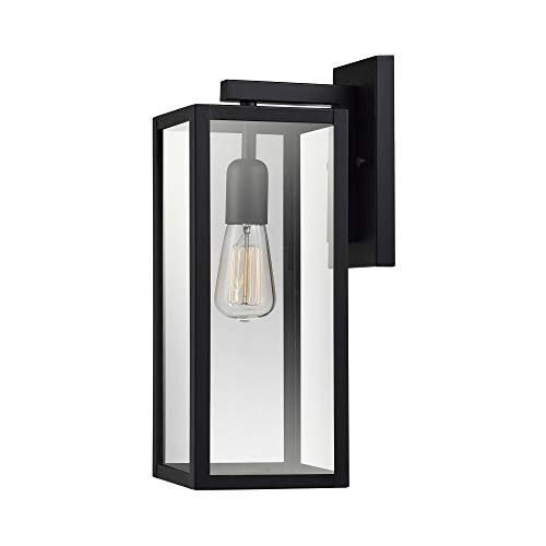 "Globe Electric Hurley 16"" 1-Light Outdoor Wall Sconce, Matte Black Finish, Clear Glass Shade 44176"
