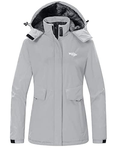 Wantdo Women's Waterproof Winter Coat Waterproof Ski Jacket Windproof Snow Coats Warm Fleece Raincoat