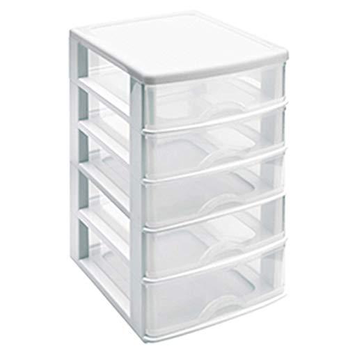 Acan Cajonera de plástico 5 cajones Blanco 28 x 21.5 x 17.5 cm