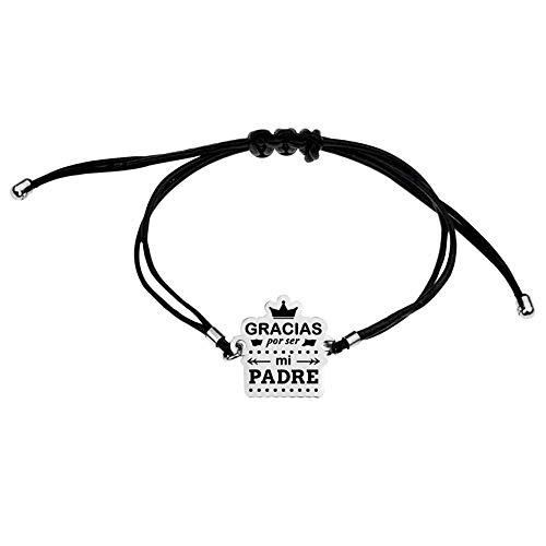 Pulsera acero inoxidable rodiado adaptable GRACIAS POR SER MI PADRE corona cuero sintético negro - Personalizable - GRABACIÓN INCLUIDA EN EL PRECIO
