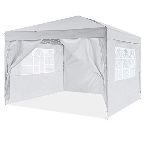 Dawsons Living Waterproof Pop Up Gazebo - 3m x 3m Pop Up Outdoor Garden Shelter - Detachable Sides - PVC Coated - Travel Bag (Grey)