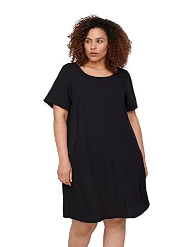 Zizzi Große Größen Damen Kurzarm Kleid aus Viskose Gr 46-48 Schwarz