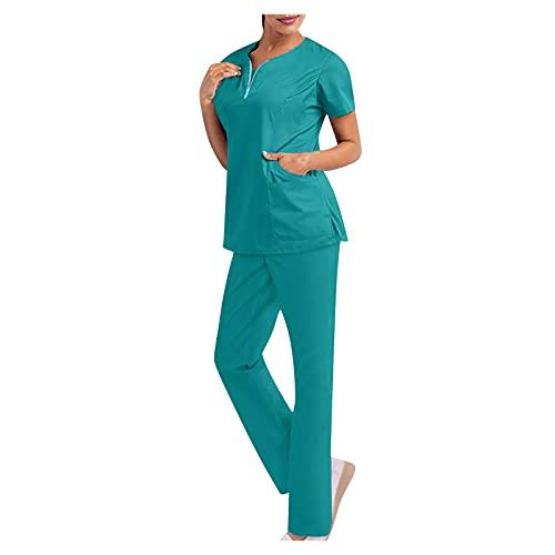Briskorry Kasacks - Conjunto de ropa de aseo para mujer, de un solo color, con chaqueta y pantalones, uniforme de enfermería, verde, XXL