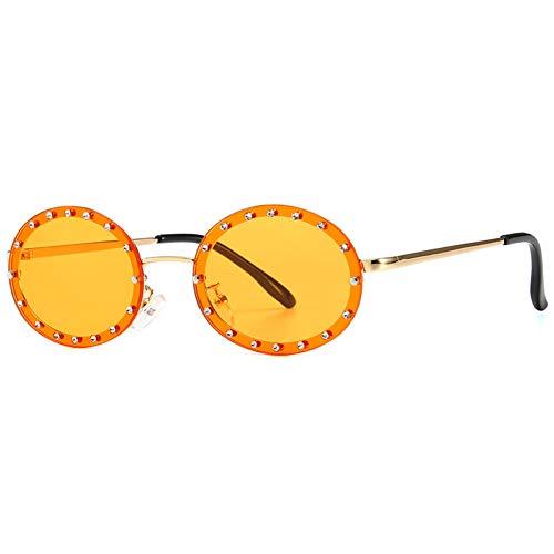 YIERJIU Gafas de Sol Pequeñas Gafas de Sol Redondas Steampunk Mujeres Hombres Gafas de Sol con Montura de Metal Retro Gafas de Sol de Diamantes de imitación Negras Gafas de Marca ovaladas, C3