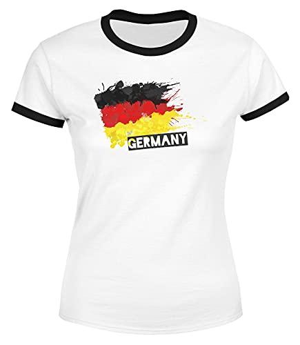 MoonWorks® Damen WM-Shirt Deutschland Fußball EM 2021 Fußballeuropameisterschaft Deutschlandshirt Deutschlandflagge Retro weiß-schwarz M
