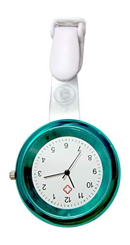 Ellemka JCM-2103 - Orologio Infermiera FOB Medico Analogico Funzionale Ospedale Quarzo Cinghia Cinturino Mode Colore Turchese