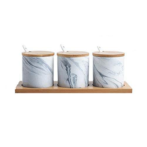 STRAW Vinagrera nórdica, Tres Piezas, condimento nórdico, Caja de Botella, condimento, Olla, Juego de cerámica, combinación de hogar, Cocina (Color : Gray)