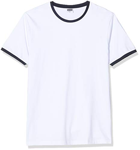 Urban Classics Herren Ringer Tee T-Shirt, Mehrfarbig (wht/NVY 392), Medium