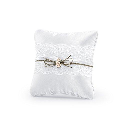 Simplydeko Coussin pour alliances de mariage | Coussin en blanc, vintage ou ivoire Blanc vintage.