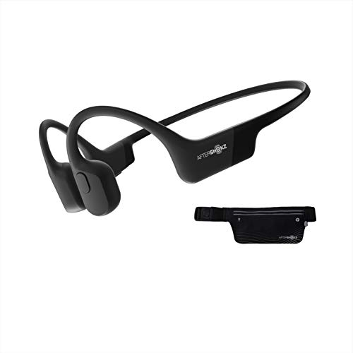 AfterShokz Aeropex Open Ear Wireless Bone Conduction Kopfhörer mit Sportgürtel, Cosmic Black