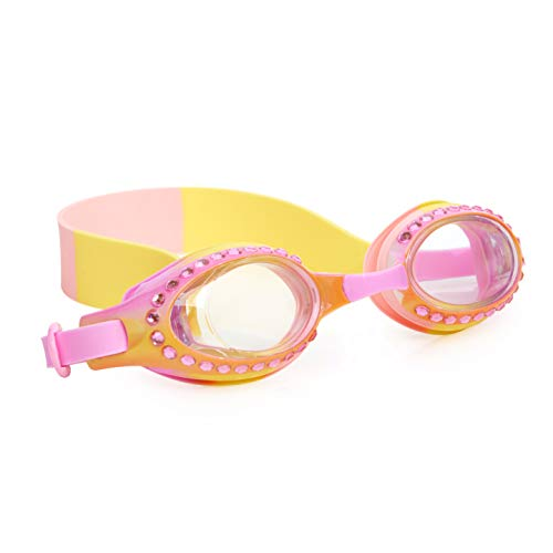Bling 2O Kids Swimming Goggles - Ombre Rhinestone Swim Goggles for Girls - Ages 3+ - Anti Fog, No Leak, Non Slip, UV Protection with Hard Travel Case - Lead and Latex Free (Strawberry Lemonade)