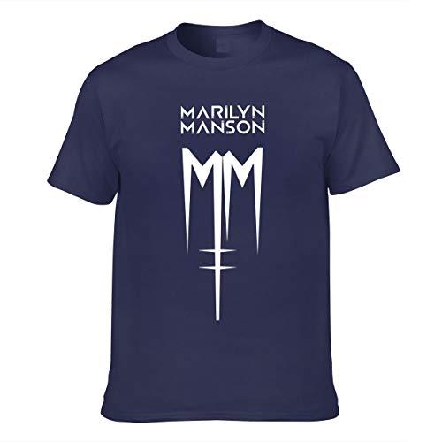 Herren Marilyn Manson Logo Bekleidung T-Shirt Kurzarm Navy 3XL Tee T Shirt Rundhalsausschnitt Sommer Tshirt Für Männer