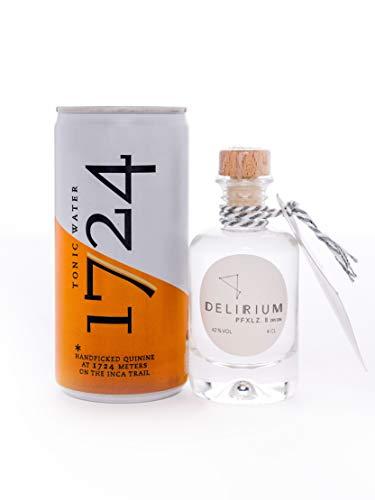 Gin Set - DELIRIUM PFXLZ. II ® Dry Gin (1x4cl) & 1724 Tonic Water (1x0,2l) - Perfektes Geschenk - Perfekt für Gin Einsteiger