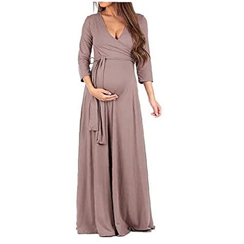 jieerrui Maternidad Maxi Vestido cómodo con Cuello en V de 3/4 de enfermería de Manga Larga Vestidos Vestido de la Cintura de la Correa para el Embarazo de Las Mujeres L Albaricoque