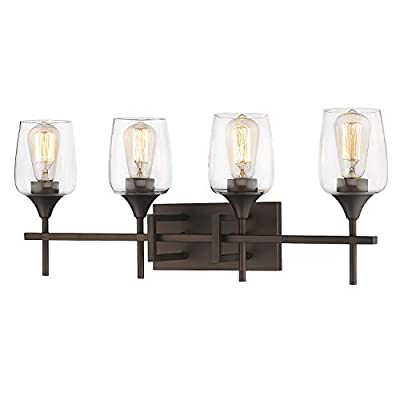 Zeyu Vanity Light Fixture 4-Light, 27 Inch Bathroom Wall Sconce Lighting Fixture, Oil Rubbed Bronze Finish with Clear Glass Shade, 8000-4 ORB