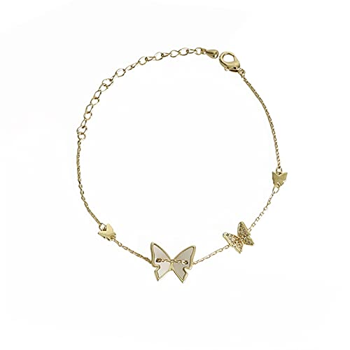 aolongwl Pulsera Mujer Silver Shell Butterfly Pulsera Luz Lujo Mujer Pareja Regalo Hecho A Mano