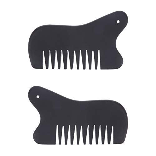 SUPVOX 2pcs Stone Therapy Massage Hair Comb Gua Sha Scraping Tools Guasha Board for Spa Acupuncture Scalp Meridian Health Massage