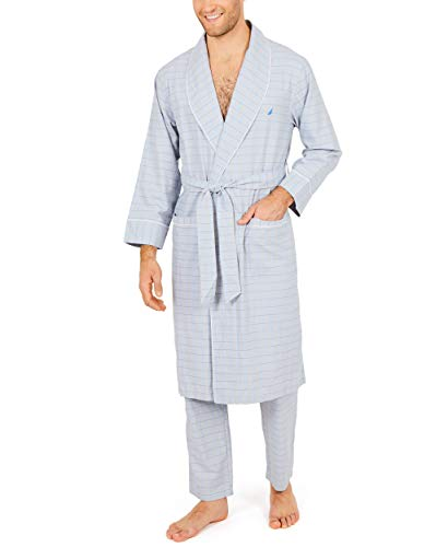 Nautica Men's Long Sleeve Lightweight Cotton Woven Robe, Grey, Large/X-Large