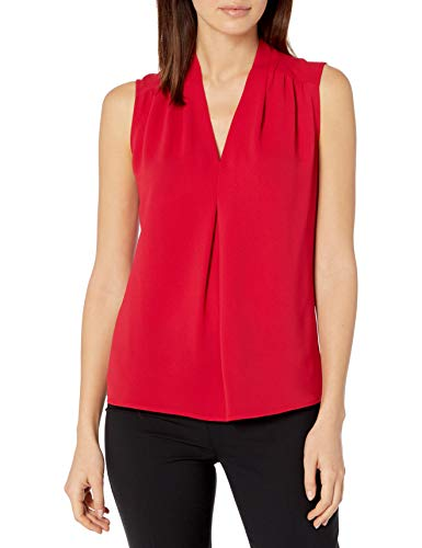 Nine West Damen Sleeveless V Neck Blouse Hemd, Purpurrot, X-Groß