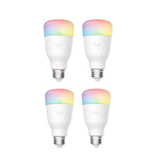 Yeelight Wifi Ampoule 16 millions de couleurs E27 10W RGB Dimmable 800lm Lumière blanche Smart Home App Télécommande (4-Pack)
