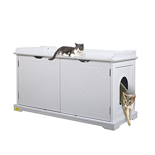 JAXPETY Wooden Cat Washroom Storage Bench, Litter Box Furniture, Spacious Inner end Table with Removable Panel Magnetized Double Doors Side Entrances White