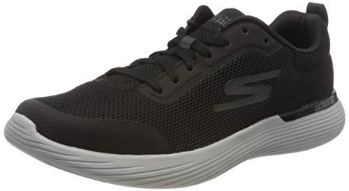 Skechers GO Run 400 V2, Zapatillas para Hombre, Negro (Textil Negro/Sintético/Borde Gris Bkgy), 43.5 EU
