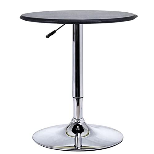 ZOYAFA Tavolino multifunzione da caffè in acciaio cromato regolabile in altezza tavolo da pranzo rotondo nero