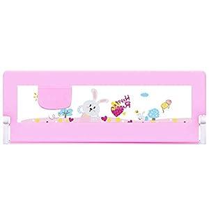 Barrera de Protección de Cama para Niños, Barrera de Seguridad Anti-Caída, Portátil y Estable para Cama Nido de 120 CM (Rosa con dibujo)