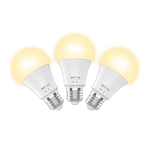 Motion Sensor Light Bulbs 12W(100W Equivalent) E26 Base, ANTING A19 Indoor Outdoor Dusk to Dawn Security LED Bulb Radar Motion Activated Lights,1000 Lumen,30000 Hrs Lifetime,2700K Warm White, 3pcs