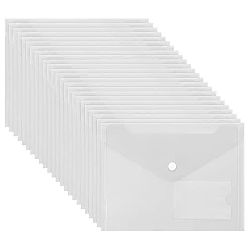 Belle Vous Carpeta para Documentos A5 Plástico Transparente (Pack de 24) Carpetas Sobre Cierre Botón a Presión y Bolsillo para Tarjeta – Hogar, Oficina y Escuela,...
