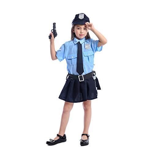 TOYANDONA Chica Uniforme de policía Vestido Esposas Juguete Pistola Chaleco Gorra policía Mujer Cosplay Disfraz Accesorios Halloween Disfraz Accesorio para niños