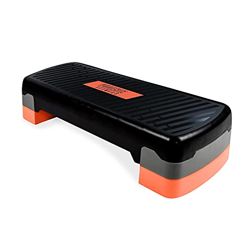 Phoenix Fitness RY1010 Stepper per fitness aerobico - Step Aerobico Regolabile in Altezza a 2 Livelli - Step per Esercizi Cardio da 10 cm e 15 cm Nero