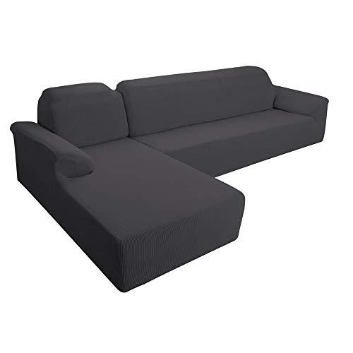 E EBETA Funda Elástica para Sofá Chaise Longue, Funda Cubre Sofá Chaise Longue Jacquard Funda de sofá para Juego de 2 en Forma de L para 3 plazas + sofá de Esquina de 3 plazas Izquierda