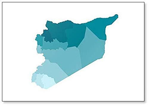 Illustratie van vereenvoudigde administratieve kaart van Syrië koelkastmagneet