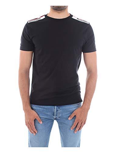 T shirt Moschino Underwear maglietta colore nero bande con logo su spalle unisex E20MO08