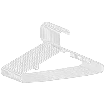 SUPER DEAL 100-pack White Plastic Hangers Premium Quality Ultra Thin Non-Slip Suit Hanger Long Lasting Tubular Clothes Hangers - Wrinkle Free - Space Saving - Heavy Duty  Set of 100   White